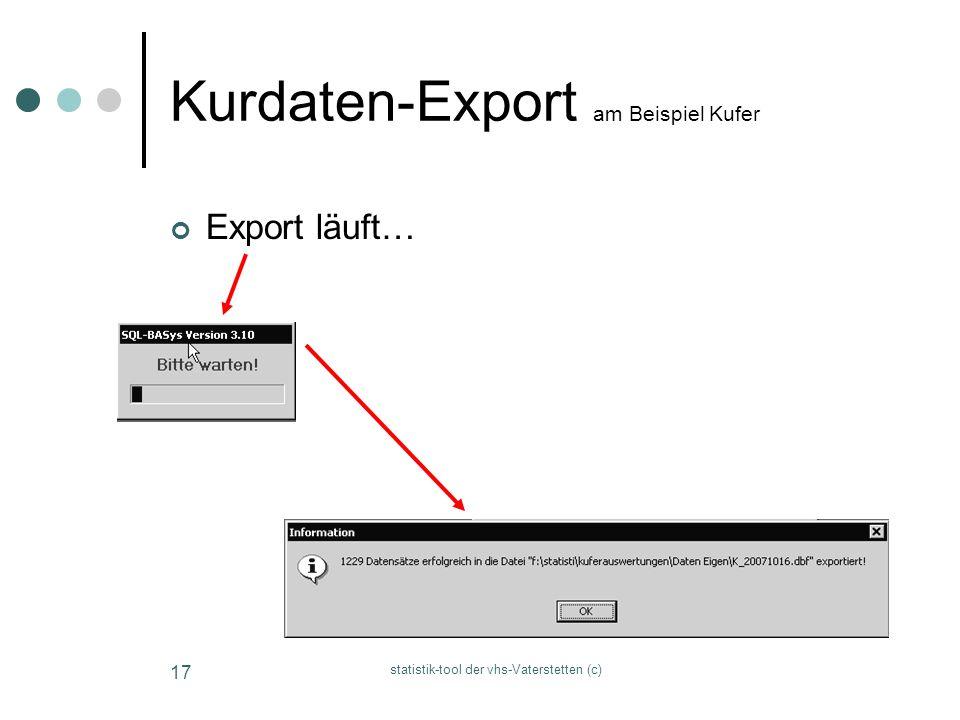statistik-tool der vhs-Vaterstetten (c) 17 Kurdaten-Export am Beispiel Kufer Export läuft…