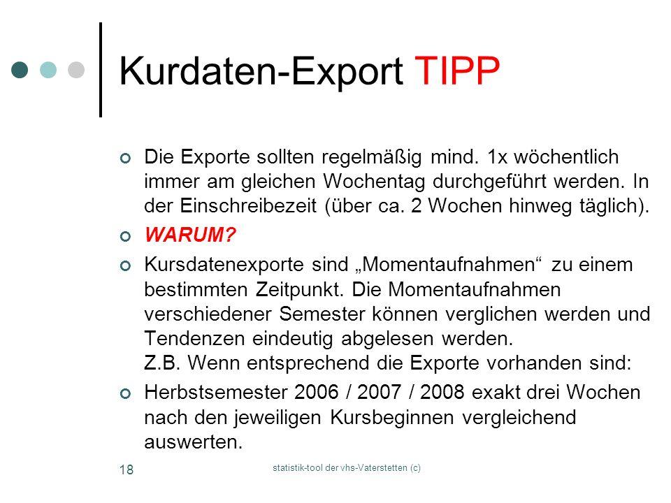 statistik-tool der vhs-Vaterstetten (c) 18 Kurdaten-Export TIPP Die Exporte sollten regelmäßig mind. 1x wöchentlich immer am gleichen Wochentag durchg