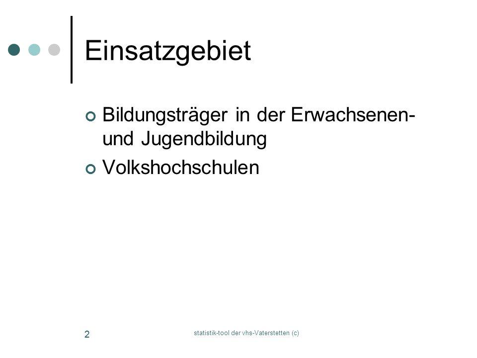 statistik-tool der vhs-Vaterstetten (c) 22 Einsatzgebiet Bildungsträger in der Erwachsenen- und Jugendbildung Volkshochschulen