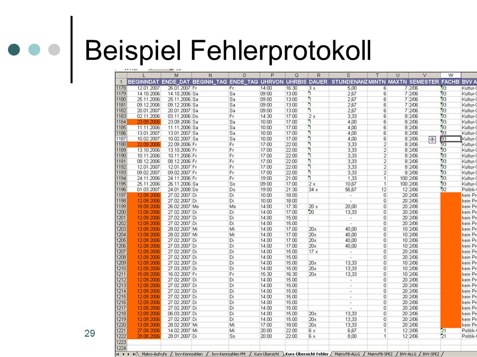 statistik-tool der vhs-Vaterstetten (c) 29 excel-tool der vhs-Vaterstetten (c) 29 Beispiel Fehlerprotokoll