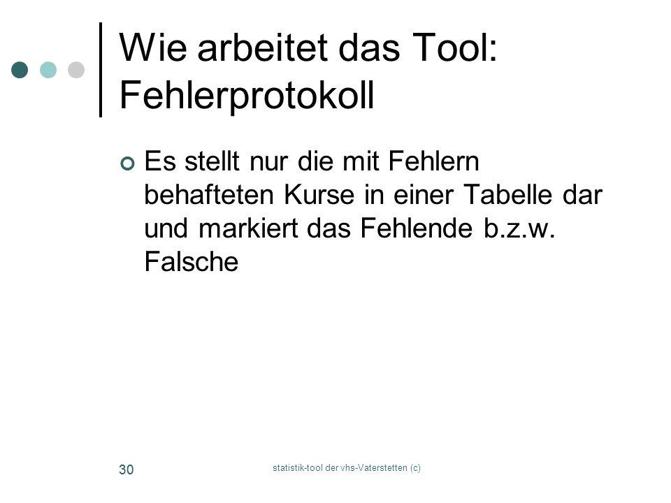 statistik-tool der vhs-Vaterstetten (c) 30 Wie arbeitet das Tool: Fehlerprotokoll Es stellt nur die mit Fehlern behafteten Kurse in einer Tabelle dar