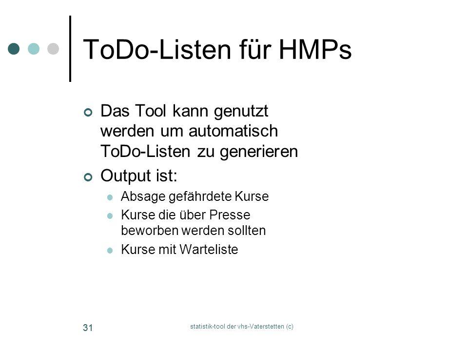 statistik-tool der vhs-Vaterstetten (c) 31 ToDo-Listen für HMPs Das Tool kann genutzt werden um automatisch ToDo-Listen zu generieren Output ist: Absa