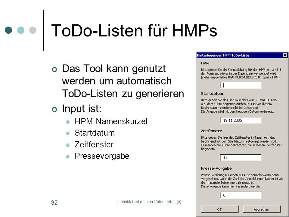 statistik-tool der vhs-Vaterstetten (c) 32 ToDo-Listen für HMPs Das Tool kann genutzt werden um automatisch ToDo-Listen zu generieren Input ist: HPM-N