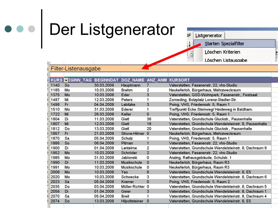 statistik-tool der vhs-Vaterstetten (c) 38 Der Listgenerator