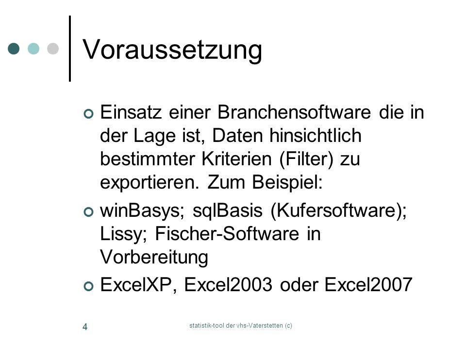 statistik-tool der vhs-Vaterstetten (c) 44 Voraussetzung Einsatz einer Branchensoftware die in der Lage ist, Daten hinsichtlich bestimmter Kriterien (