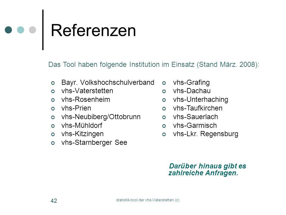 statistik-tool der vhs-Vaterstetten (c) 42 Referenzen Bayr. Volkshochschulverband vhs-Vaterstetten vhs-Rosenheim vhs-Prien vhs-Neubiberg/Ottobrunn vhs