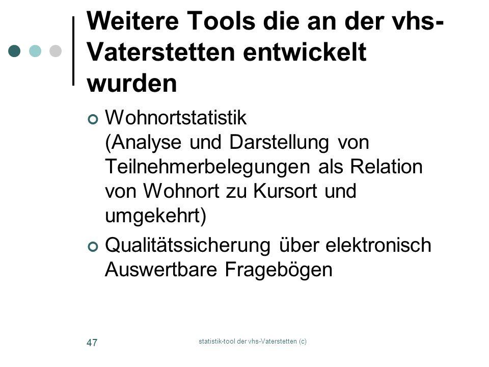 statistik-tool der vhs-Vaterstetten (c) 47 Weitere Tools die an der vhs- Vaterstetten entwickelt wurden Wohnortstatistik (Analyse und Darstellung von