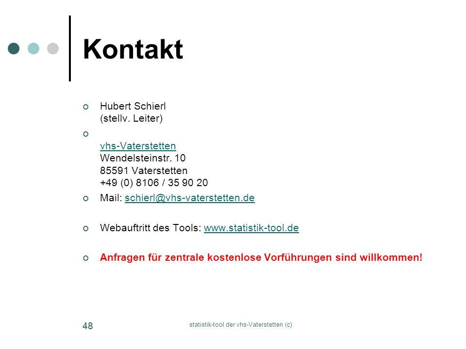 statistik-tool der vhs-Vaterstetten (c) 48 Kontakt Hubert Schierl (stellv. Leiter) vhs-Vaterstetten Wendelsteinstr. 10 85591 Vaterstetten +49 (0) 8106