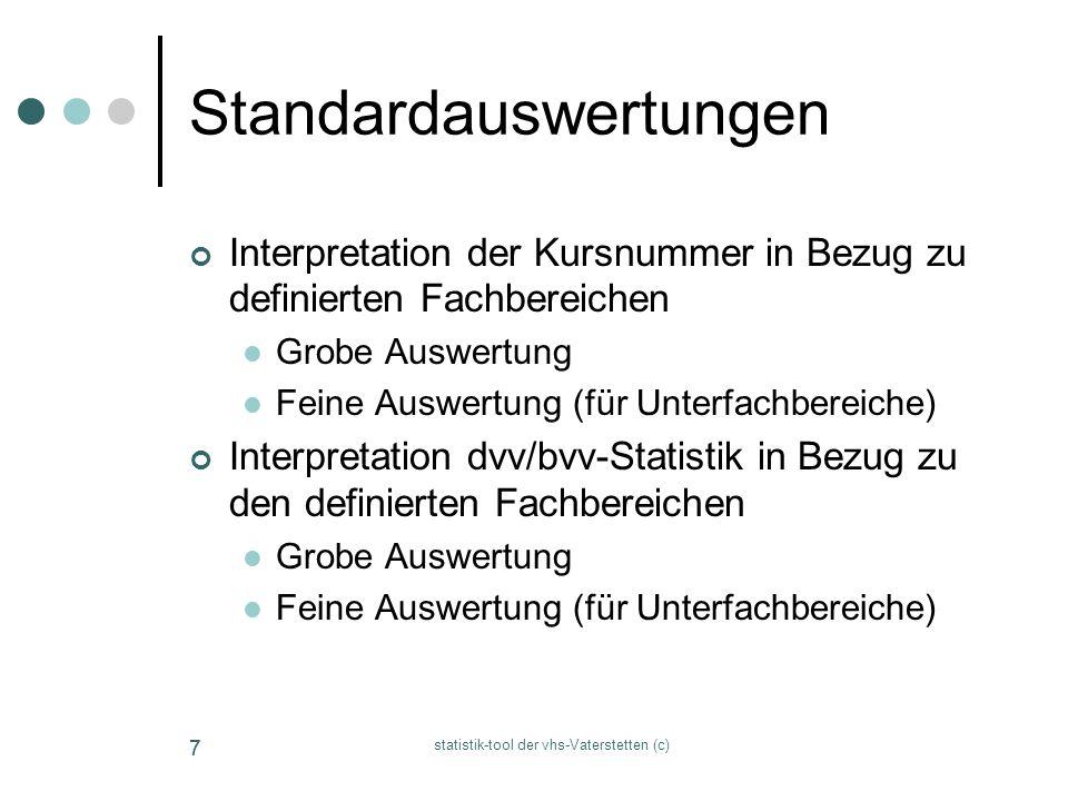 statistik-tool der vhs-Vaterstetten (c) 77 Standardauswertungen Interpretation der Kursnummer in Bezug zu definierten Fachbereichen Grobe Auswertung F