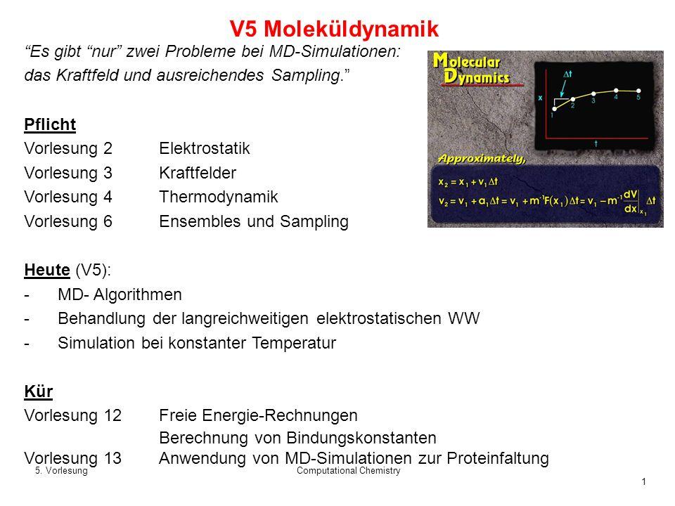 1 5. VorlesungComputational Chemistry V5 Moleküldynamik Es gibt nur zwei Probleme bei MD-Simulationen: das Kraftfeld und ausreichendes Sampling. Pflic