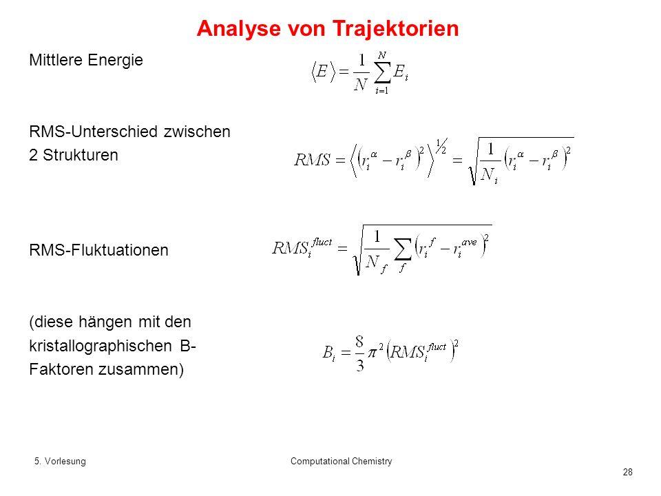 28 5. VorlesungComputational Chemistry Mittlere Energie RMS-Unterschied zwischen 2 Strukturen RMS-Fluktuationen (diese hängen mit den kristallographis