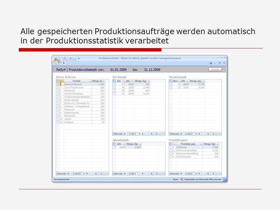 Alle gespeicherten Produktionsaufträge werden automatisch in der Produktionsstatistik verarbeitet