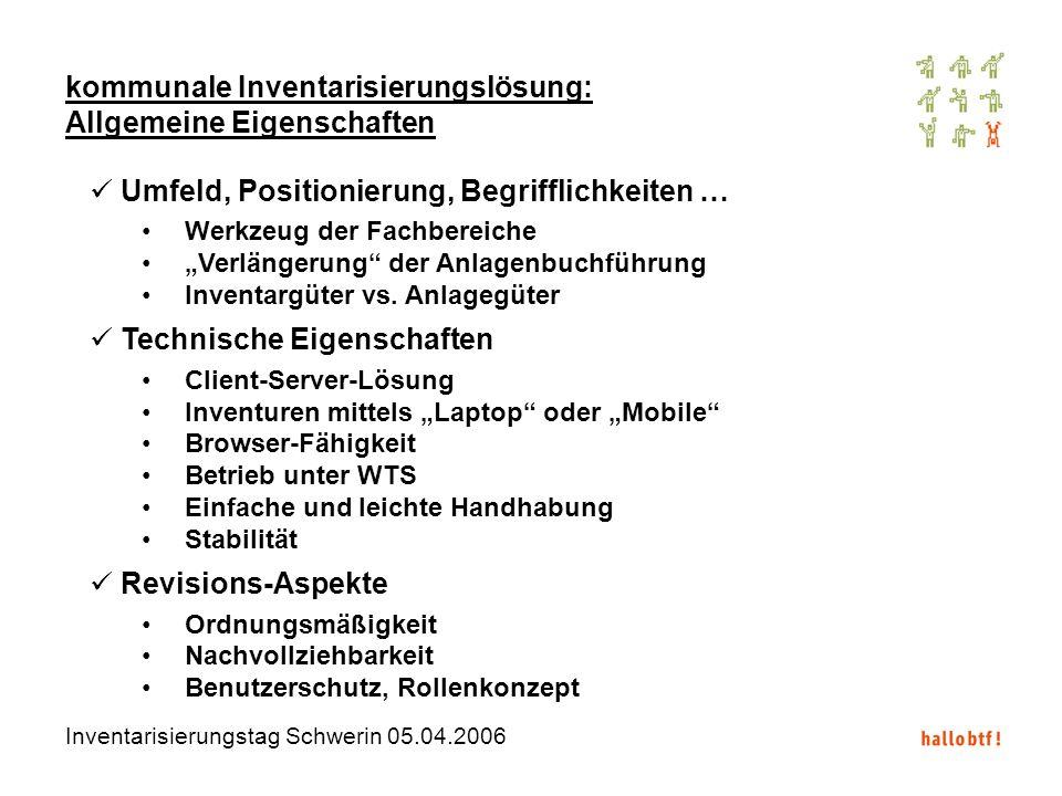 Inventarisierungstag Schwerin 05.04.2006 kommunale Inventarisierungslösung: Allgemeine Eigenschaften Umfeld, Positionierung, Begrifflichkeiten … Werkz