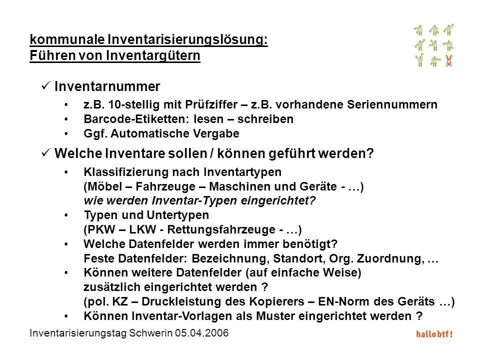 Inventarisierungstag Schwerin 05.04.2006 kommunale Inventarisierungslösung: Führen von Inventargütern Inventarnummer z.B. 10-stellig mit Prüfziffer –