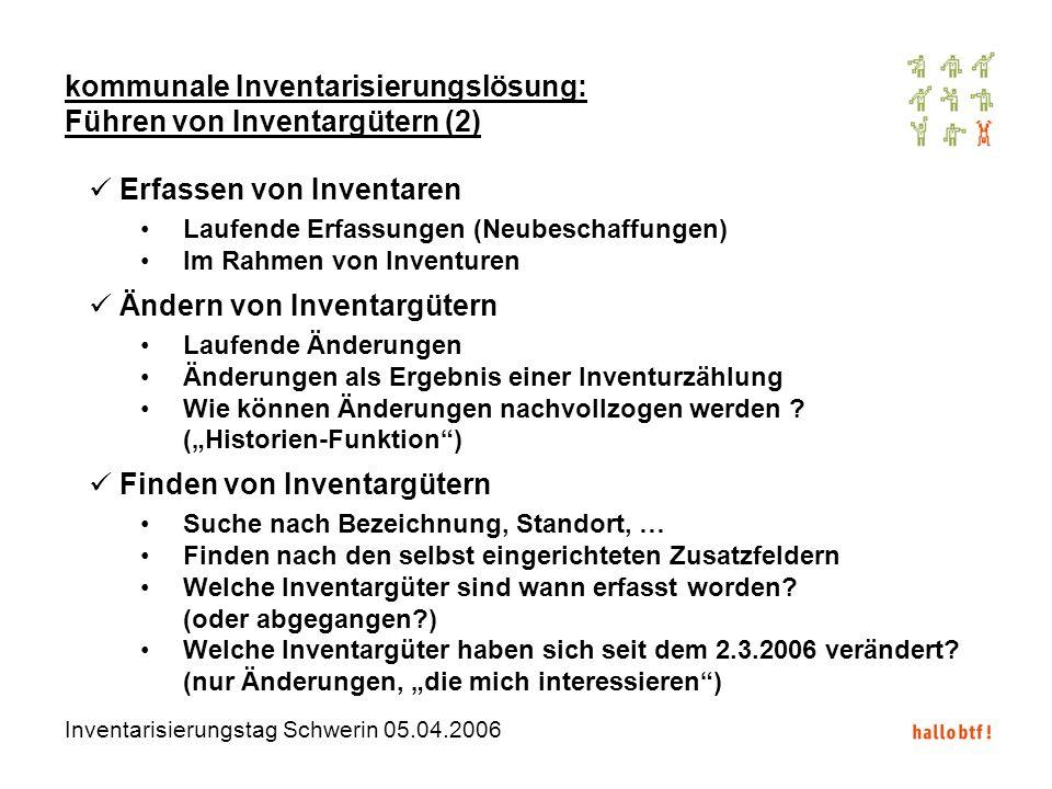Inventarisierungstag Schwerin 05.04.2006 kommunale Inventarisierungslösung: Führen von Inventargütern (2) Erfassen von Inventaren Laufende Erfassungen