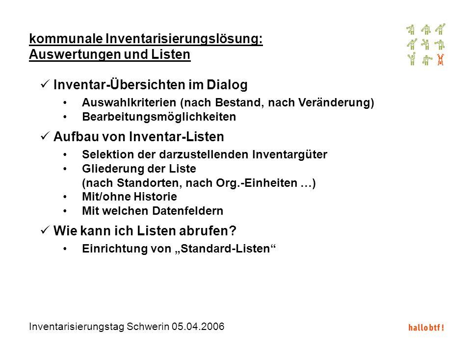Inventarisierungstag Schwerin 05.04.2006 kommunale Inventarisierungslösung: Auswertungen und Listen Inventar-Übersichten im Dialog Auswahlkriterien (n