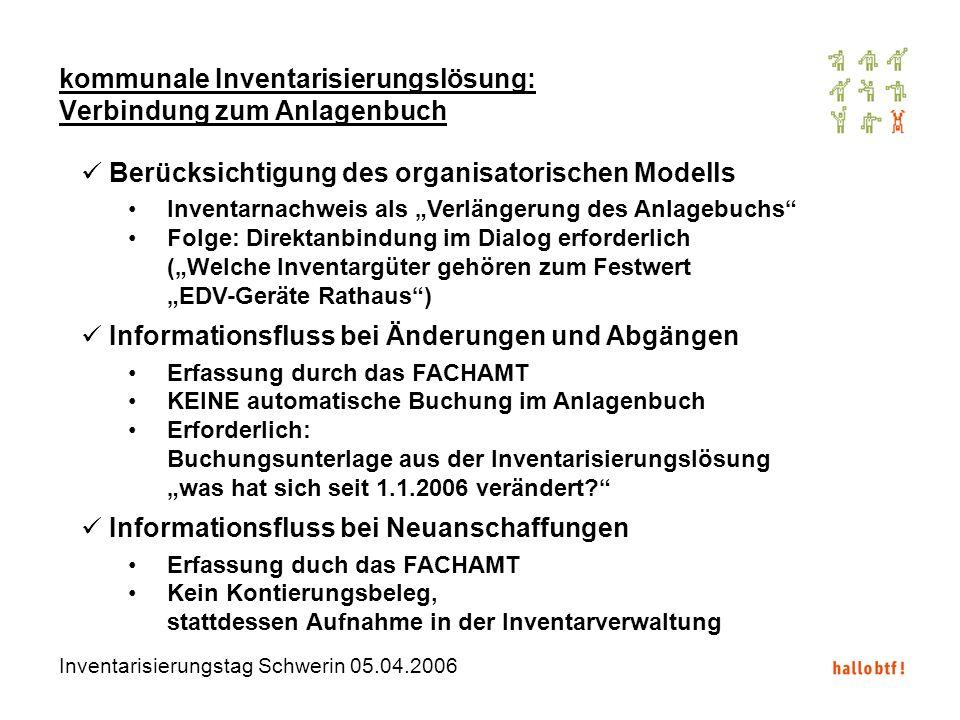 Inventarisierungstag Schwerin 05.04.2006 kommunale Inventarisierungslösung: Verbindung zum Anlagenbuch Berücksichtigung des organisatorischen Modells
