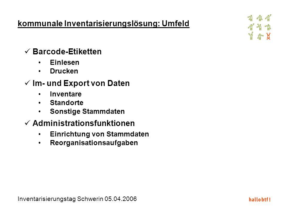 Inventarisierungstag Schwerin 05.04.2006 kommunale Inventarisierungslösung: Umfeld Barcode-Etiketten Einlesen Drucken Im- und Export von Daten Inventa