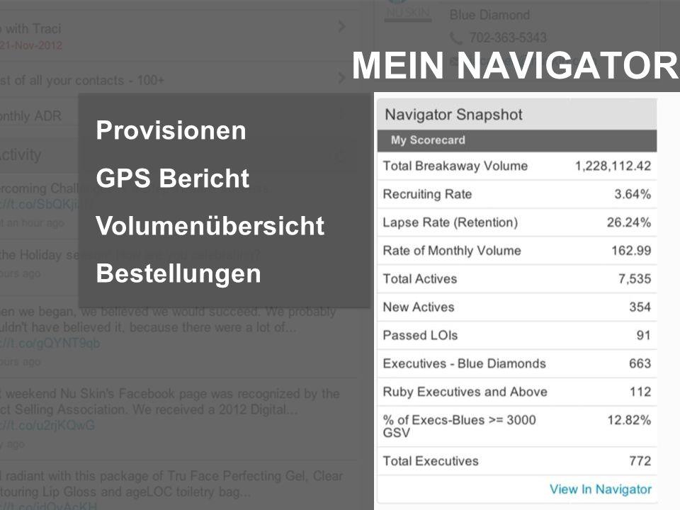 MEIN NAVIGATOR Provisionen GPS Bericht Volumenübersicht Bestellungen