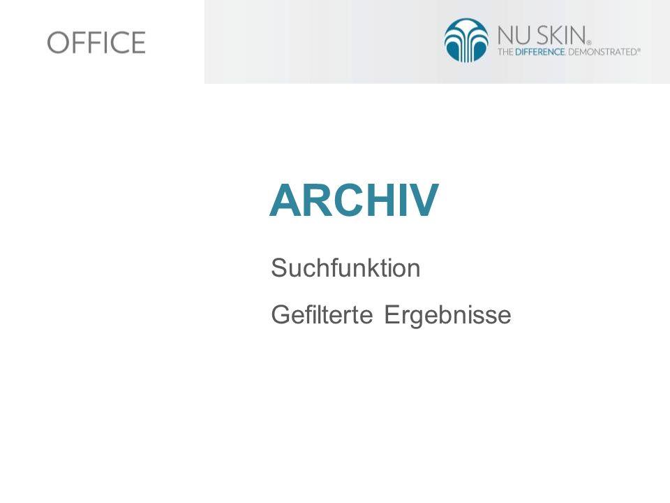ARCHIV Suchfunktion Gefilterte Ergebnisse