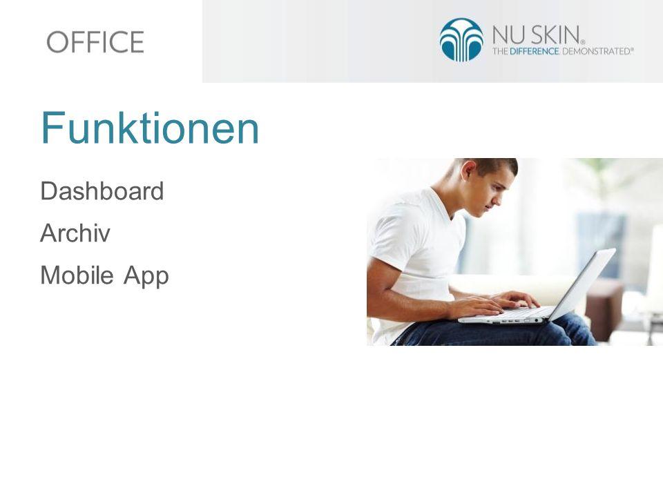 Dashboard Archiv Mobile App Funktionen