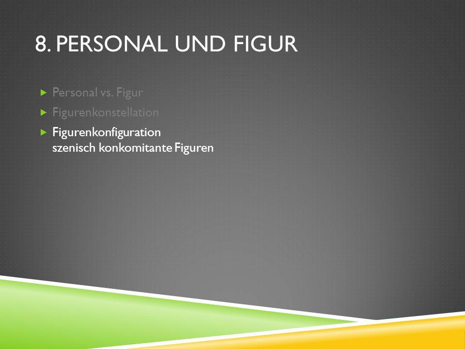 8. PERSONAL UND FIGUR Personal vs. Figur Figurenkonstellation Figurenkonfiguration szenisch konkomitante Figuren