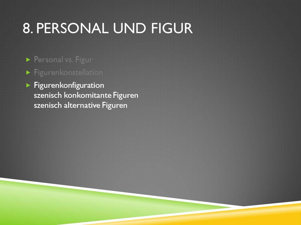 8. PERSONAL UND FIGUR Personal vs. Figur Figurenkonstellation Figurenkonfiguration szenisch konkomitante Figuren szenisch alternative Figuren
