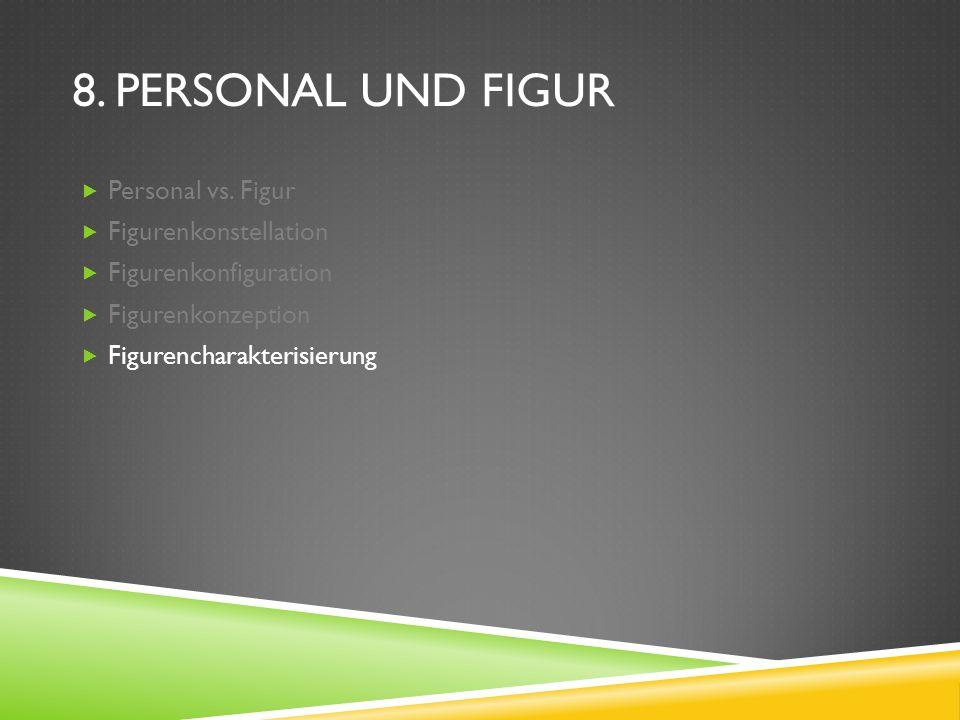 8. PERSONAL UND FIGUR Personal vs. Figur Figurenkonstellation Figurenkonfiguration Figurenkonzeption Figurencharakterisierung