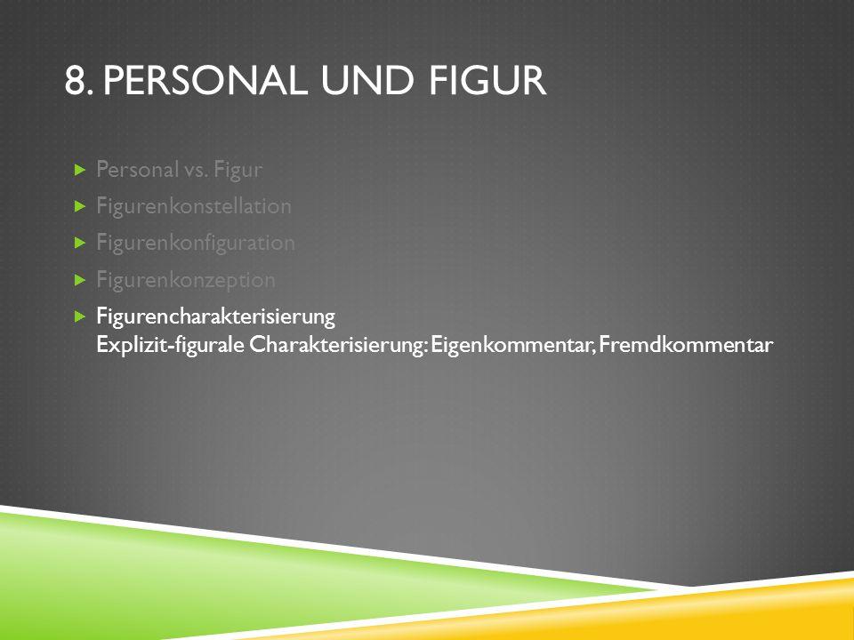 8. PERSONAL UND FIGUR Personal vs. Figur Figurenkonstellation Figurenkonfiguration Figurenkonzeption Figurencharakterisierung Explizit-figurale Charak