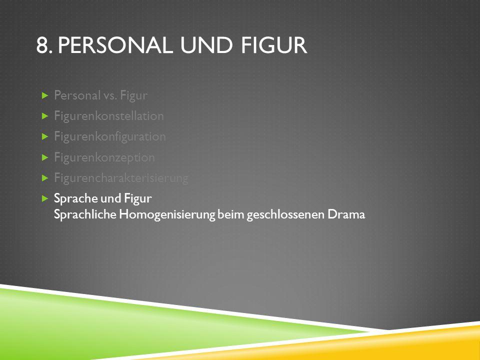 8. PERSONAL UND FIGUR Personal vs. Figur Figurenkonstellation Figurenkonfiguration Figurenkonzeption Figurencharakterisierung Sprache und Figur Sprach