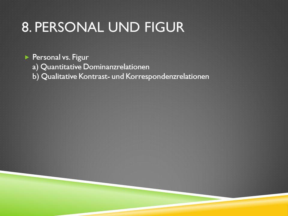 8. PERSONAL UND FIGUR Personal vs. Figur a) Quantitative Dominanzrelationen b) Qualitative Kontrast- und Korrespondenzrelationen