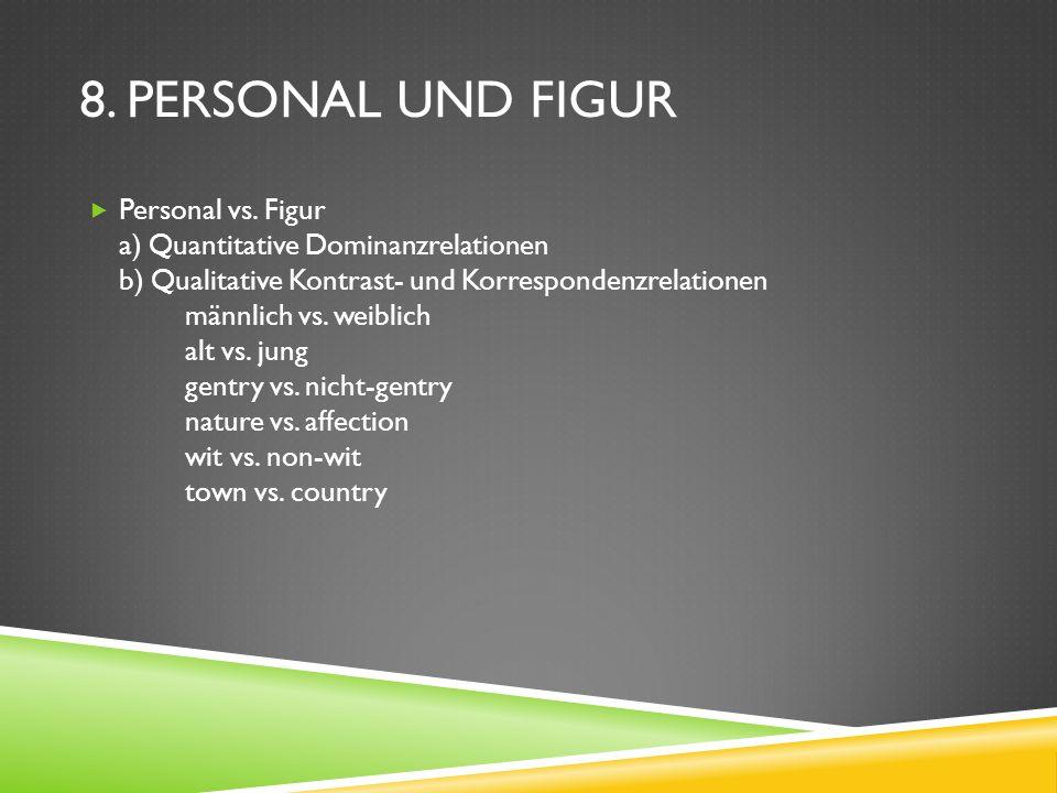 8. PERSONAL UND FIGUR Personal vs. Figur a) Quantitative Dominanzrelationen b) Qualitative Kontrast- und Korrespondenzrelationen männlich vs. weiblich