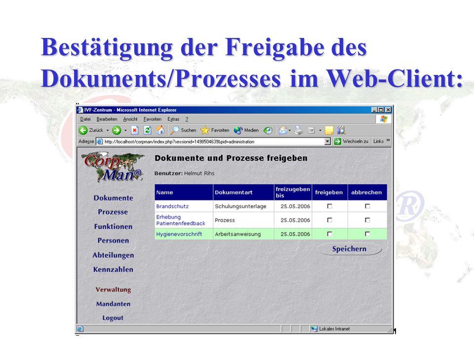 Bestätigung der Freigabe des Dokuments/Prozesses im Web-Client: