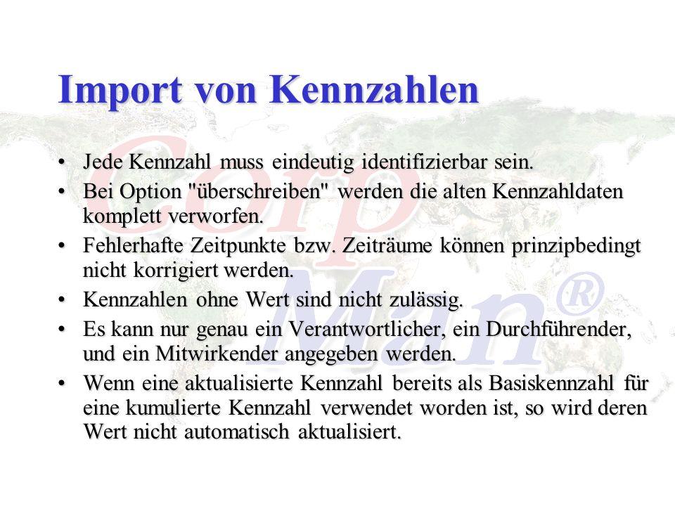Import von Kennzahlen Jede Kennzahl muss eindeutig identifizierbar sein.Jede Kennzahl muss eindeutig identifizierbar sein. Bei Option