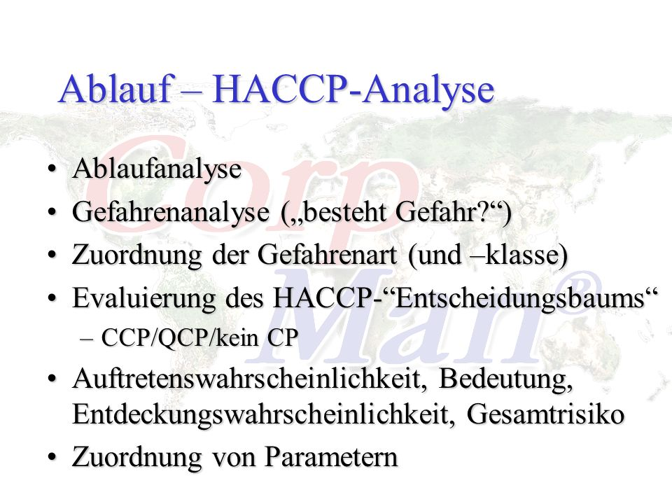 Ablauf – HACCP-Analyse AblaufanalyseAblaufanalyse Gefahrenanalyse (besteht Gefahr?)Gefahrenanalyse (besteht Gefahr?) Zuordnung der Gefahrenart (und –k