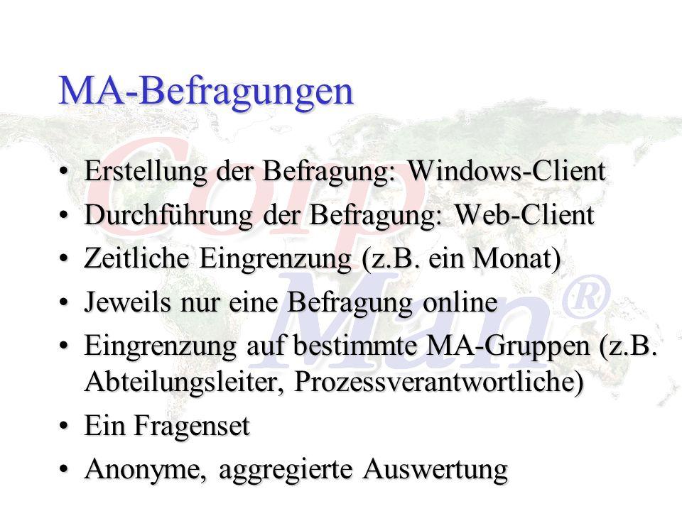 MA-Befragungen Erstellung der Befragung: Windows-ClientErstellung der Befragung: Windows-Client Durchführung der Befragung: Web-ClientDurchführung der