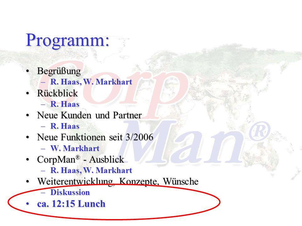 Programm: BegrüßungBegrüßung –R. Haas, W. Markhart RückblickRückblick –R. Haas Neue Kunden und PartnerNeue Kunden und Partner –R. Haas Neue Funktionen