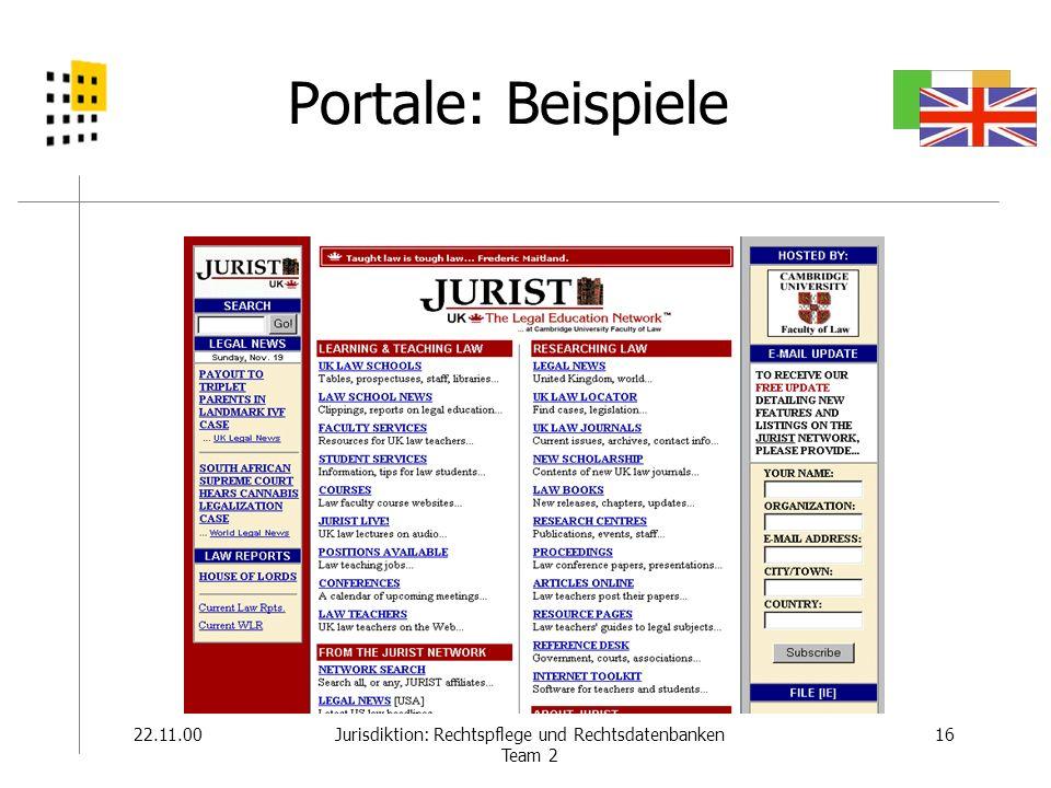22.11.0016Jurisdiktion: Rechtspflege und Rechtsdatenbanken Team 2 Portale: Beispiele