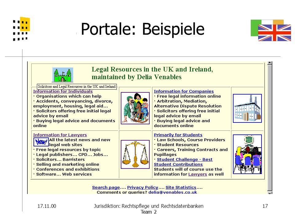 22.11.0017Jurisdiktion: Rechtspflege und Rechtsdatenbanken Team 2 Portale: Beispiele 17.11.0017Jurisdiktion: Rechtspflege und Rechtsdatenbanken Team 2