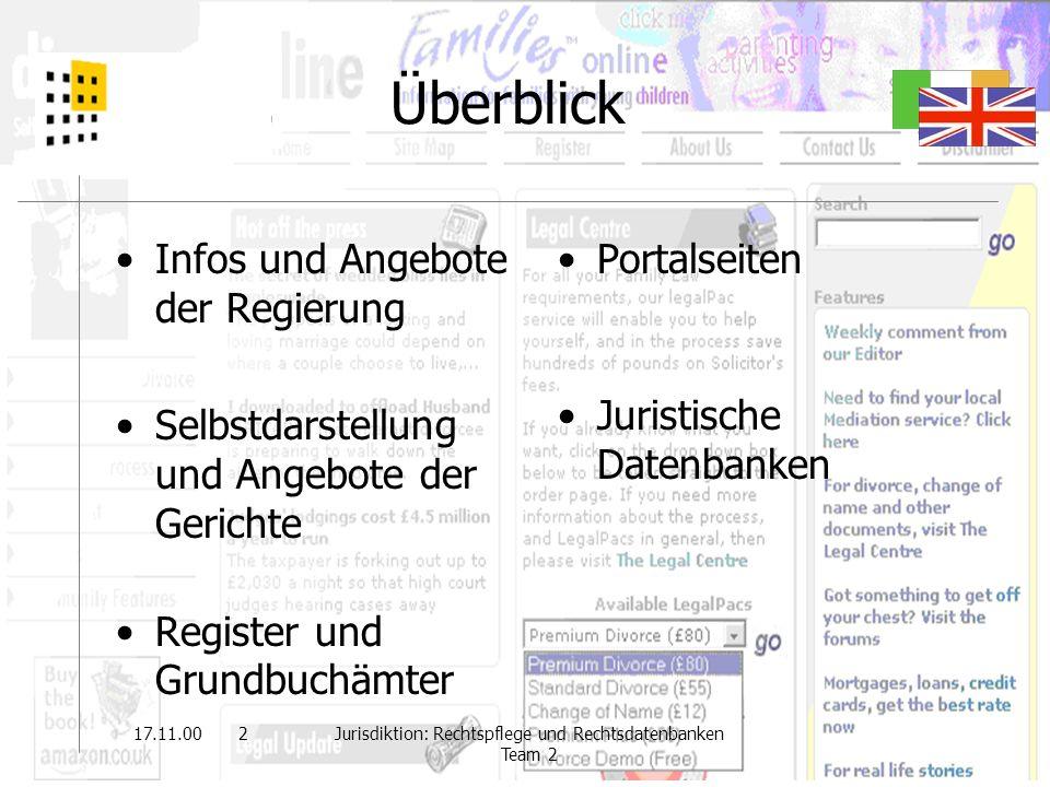 22.11.002Jurisdiktion: Rechtspflege und Rechtsdatenbanken Team 2 Überblick Infos und Angebote der Regierung Selbstdarstellung und Angebote der Gericht