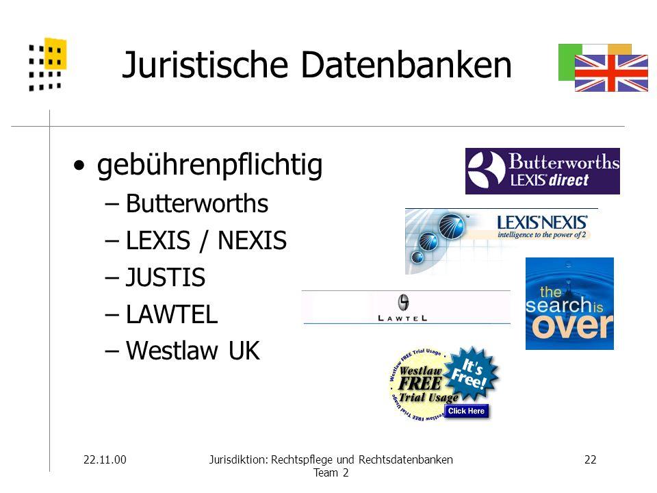 22.11.0022Jurisdiktion: Rechtspflege und Rechtsdatenbanken Team 2 Juristische Datenbanken gebührenpflichtig –Butterworths –LEXIS / NEXIS –JUSTIS –LAWT