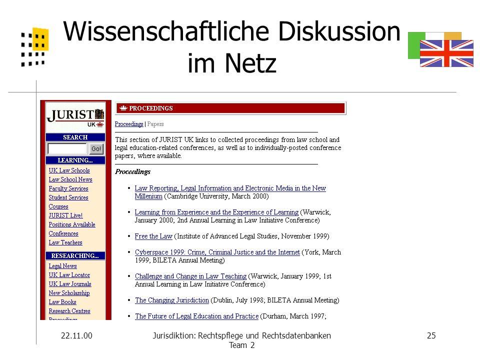 22.11.0025Jurisdiktion: Rechtspflege und Rechtsdatenbanken Team 2 Wissenschaftliche Diskussion im Netz