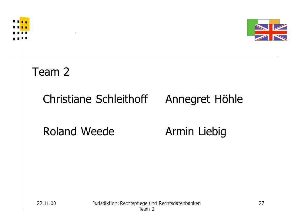 22.11.0027Jurisdiktion: Rechtspflege und Rechtsdatenbanken Team 2 Team 2 Christiane Schleithoff Roland Weede Annegret Höhle Armin Liebig