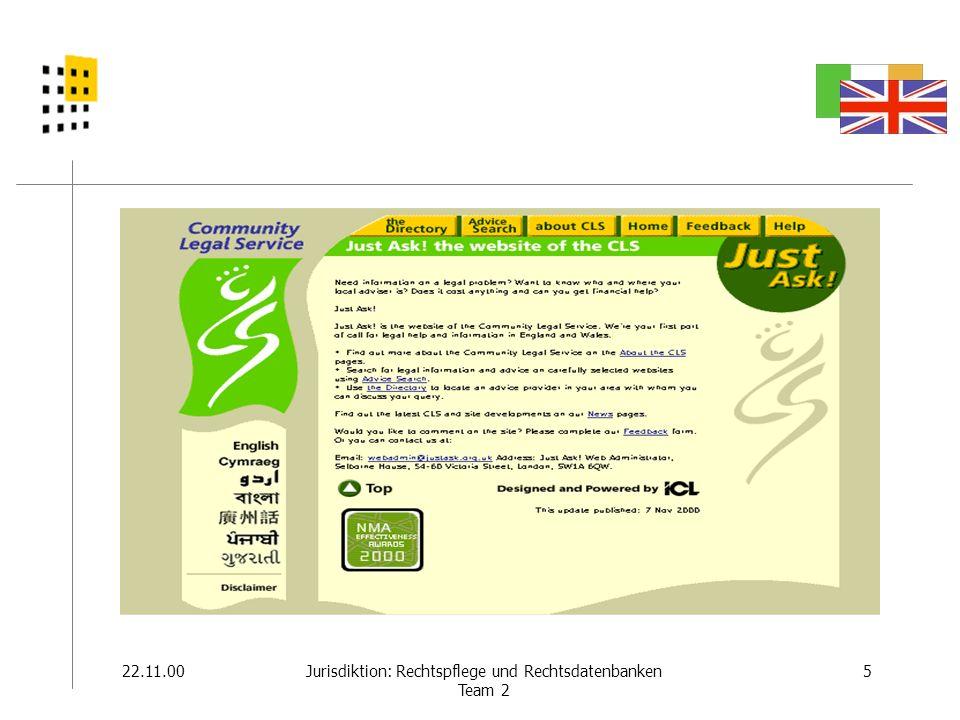 22.11.006Jurisdiktion: Rechtspflege und Rechtsdatenbanken Team 2