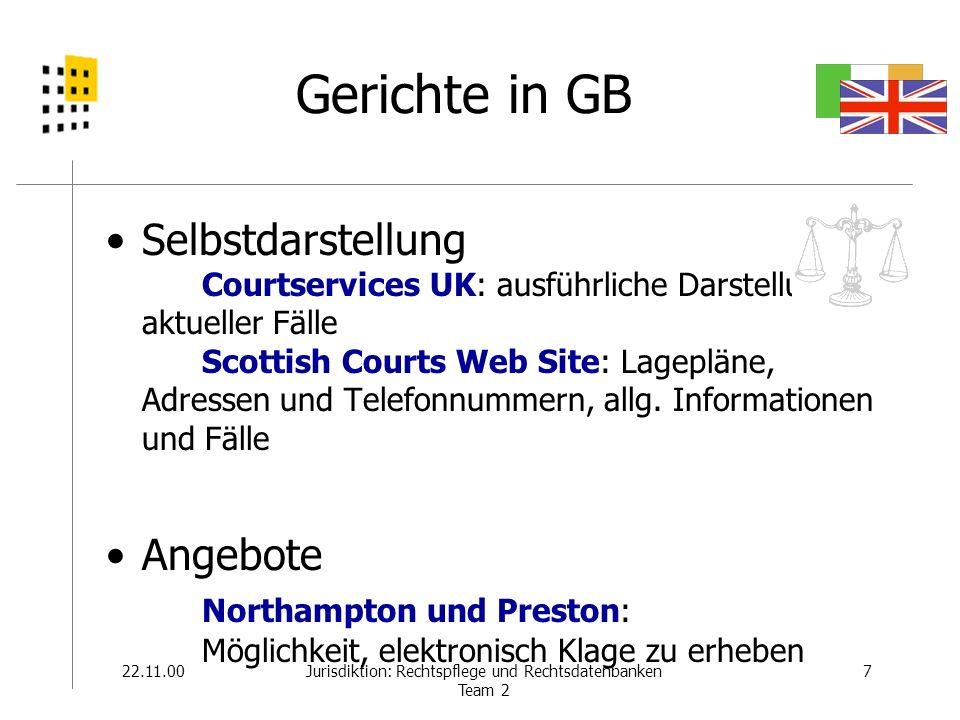 22.11.008Jurisdiktion: Rechtspflege und Rechtsdatenbanken Team 2 Gerichte in Irland Court Service –Courts Newsletter –Lagepläne –ausführliche Darstellung der Gerichte