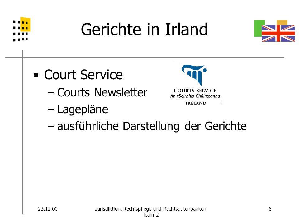 22.11.008Jurisdiktion: Rechtspflege und Rechtsdatenbanken Team 2 Gerichte in Irland Court Service –Courts Newsletter –Lagepläne –ausführliche Darstell