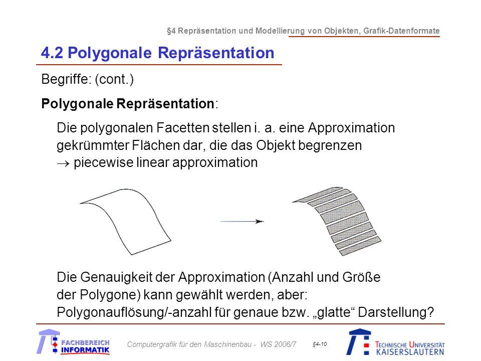 §4 Repräsentation und Modellierung von Objekten, Grafik-Datenformate Computergrafik für den Maschinenbau - WS 2006/7 §4-10 4.2 Polygonale Repräsentati