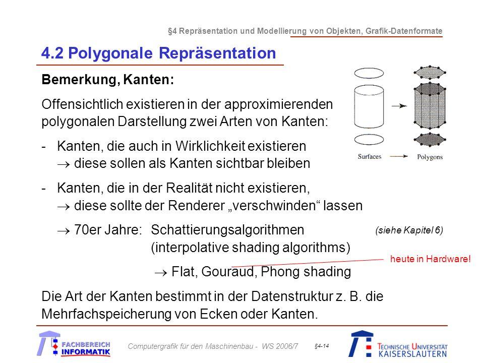 §4 Repräsentation und Modellierung von Objekten, Grafik-Datenformate Computergrafik für den Maschinenbau - WS 2006/7 §4-14 4.2 Polygonale Repräsentation Bemerkung, Kanten: Offensichtlich existieren in der approximierenden polygonalen Darstellung zwei Arten von Kanten: -Kanten, die auch in Wirklichkeit existieren diese sollen als Kanten sichtbar bleiben -Kanten, die in der Realität nicht existieren, diese sollte der Renderer verschwinden lassen 70er Jahre: Schattierungsalgorithmen (interpolative shading algorithms) Flat, Gouraud, Phong shading Die Art der Kanten bestimmt in der Datenstruktur z.