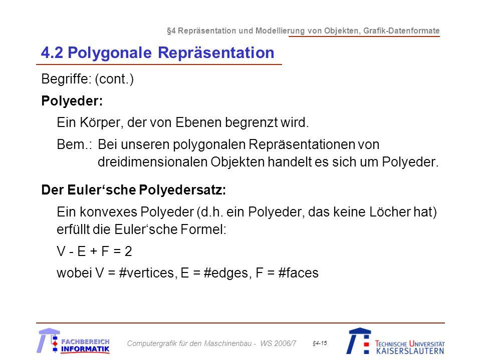 §4 Repräsentation und Modellierung von Objekten, Grafik-Datenformate Computergrafik für den Maschinenbau - WS 2006/7 §4-15 4.2 Polygonale Repräsentation Begriffe: (cont.) Polyeder: Ein Körper, der von Ebenen begrenzt wird.