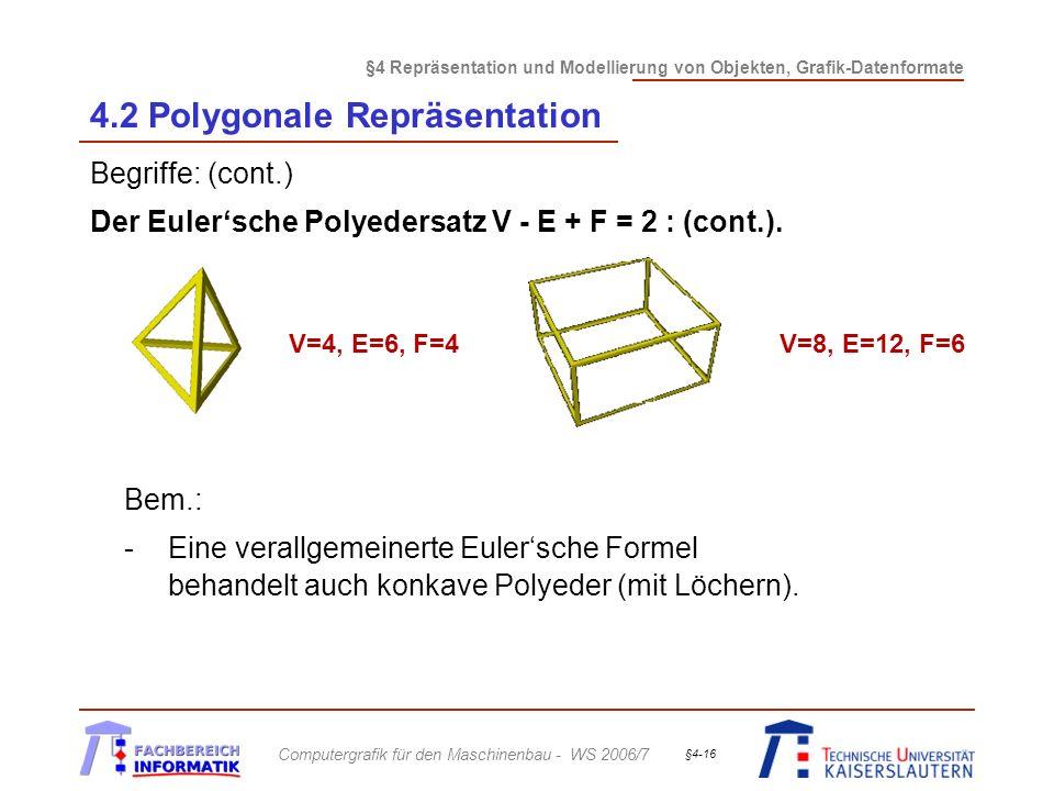 §4 Repräsentation und Modellierung von Objekten, Grafik-Datenformate Computergrafik für den Maschinenbau - WS 2006/7 §4-16 4.2 Polygonale Repräsentati